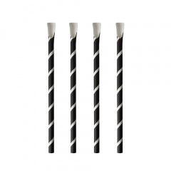 100 Trinkhalme mit Löffel, Papier Ø 8 mm · 20 cm schwarz/weiss Stripes