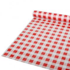 Tischdecke, Folie 50 m x 80 cm rot Karo