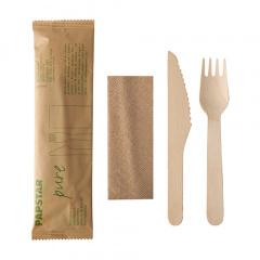50 Besteckset, Holz pure : Messer, Gabel, Serviette in Papierbeutel