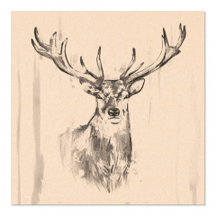 20 Servietten, 3-lagig 1/4-Falz 33 cm x 33 cm natur Deer aus recyceltem Papier