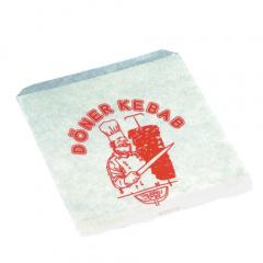 1000 Döner-Kebab-Tüten, Pergament-Ersatz 16 cm x 18 cm weiss -Kebab-Spieß- fettdicht